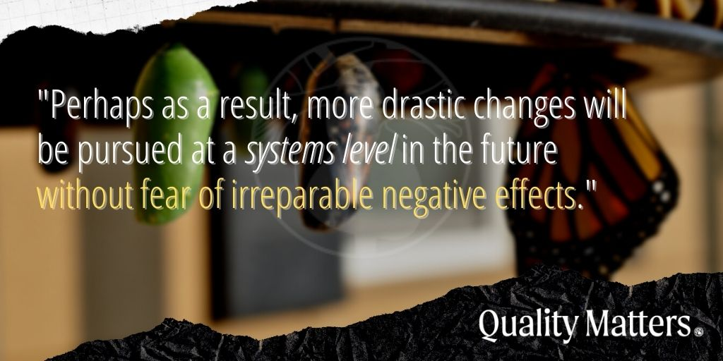 """Big Picture Lessons from COVID-19 - """"Perhaps as a result, more drastic changes will be pursued at a systems level in the future without fear of irreparable negative effects."""" - Quality Matters"""